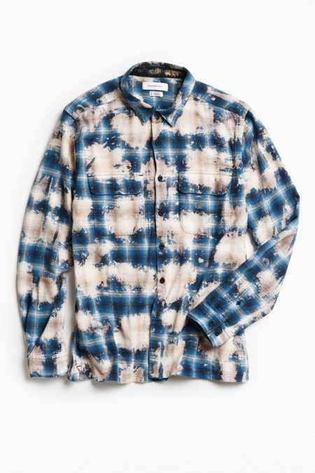 UO Ellis Bleached Shadow Plaid Flannel Button-Down Shirt