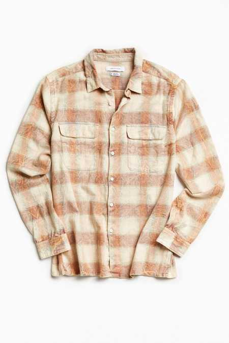 UO Eliso Bleached Shadow Plaid Flannel Button-Down Shirt