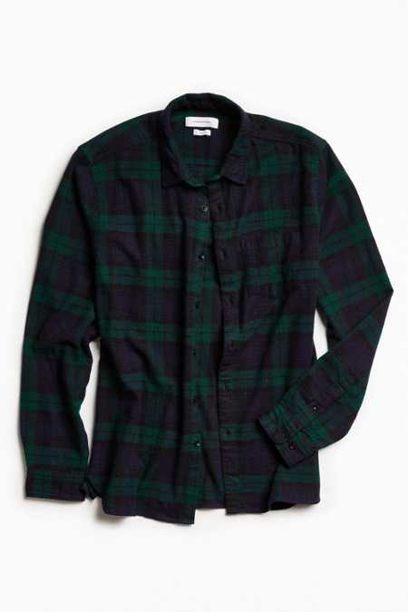 UO Blackwatch Plaid Flannel Button-Down Shirt