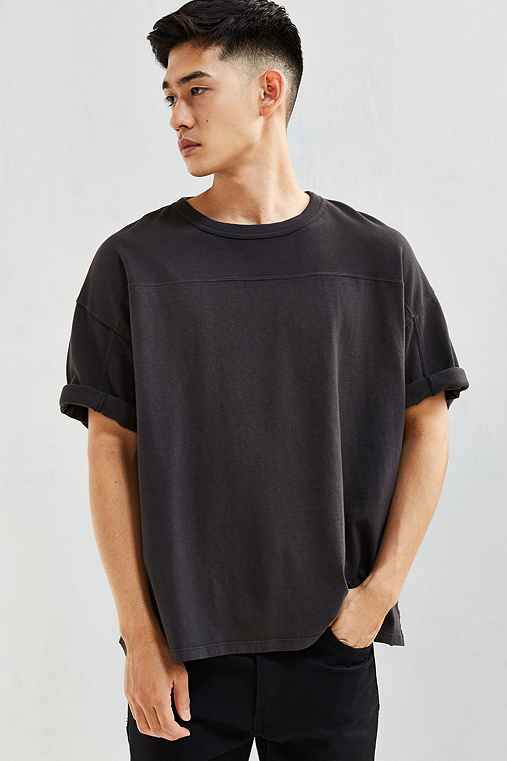 UO Blocked Football Tee,WASHED BLACK,S