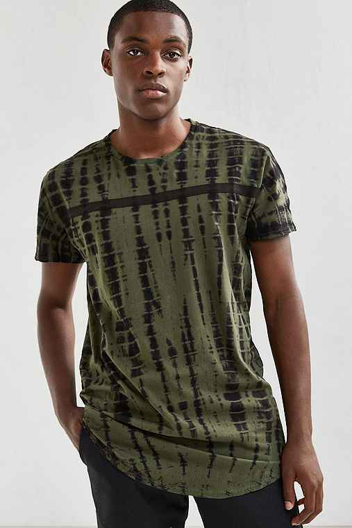 Feathers Long Dye Effect Tee,OLIVE,S