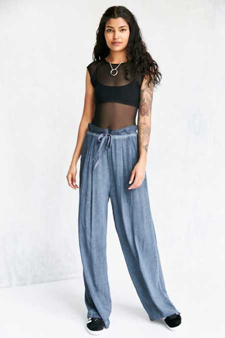 Ecote Morgan Wide-Leg Paper Bag Pant