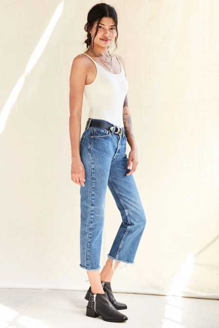 Urban Renewal Recycled Levi's Frayed Jean - Indigo