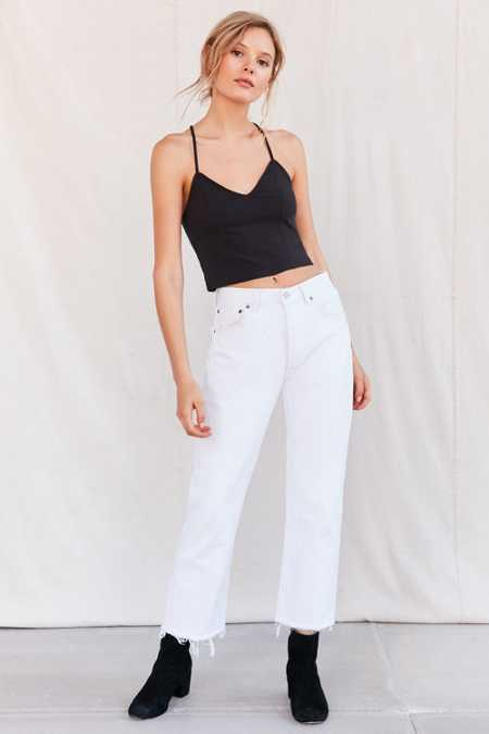 Urban Renewal Recycled Levi's Frayed Jean - White