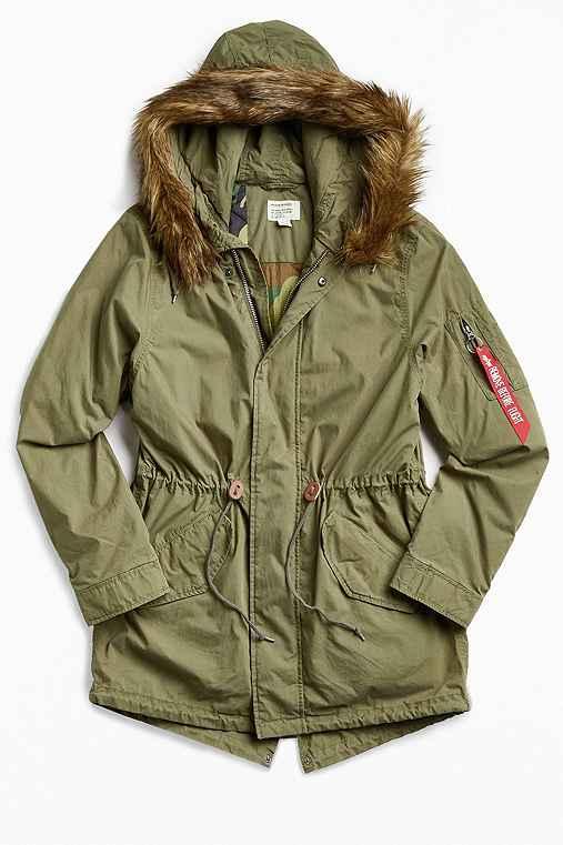 Alpha Industries J-4 Fishtail Fur Parka Jacket,OLIVE,S