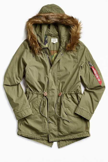 Alpha Industries J-4 Fishtail Faux Fur Parka Jacket