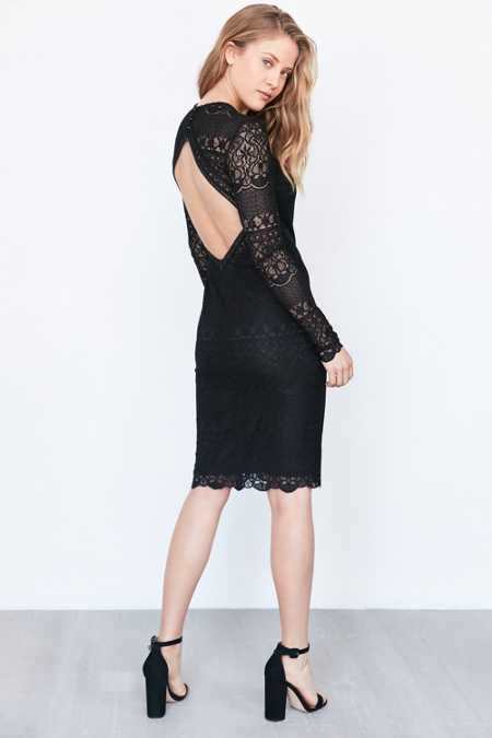 Bardot Open-Back Lace Midi Dress