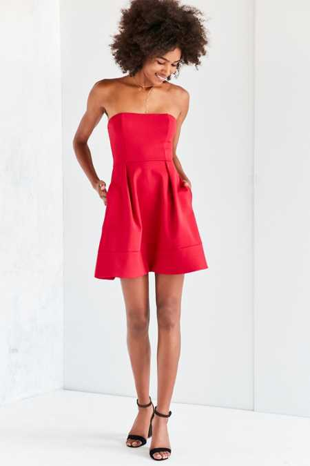 Silence + Noise Strapless Ponte Fit + Flare Mini Dress