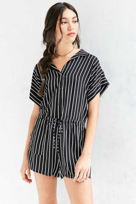BDG Striped Shirt Romper