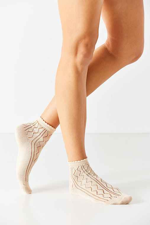 Open Work Scalloped Trouser Sock,NEUTRAL,ONE SIZE