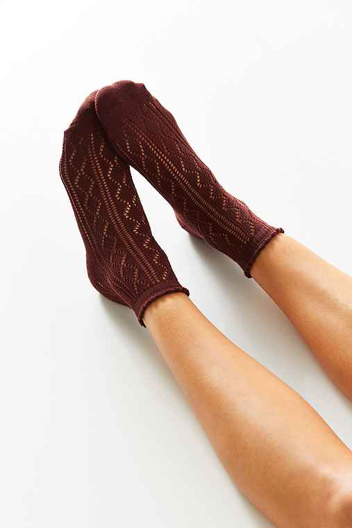 Open Work Scalloped Trouser Sock,PLUM,ONE SIZE