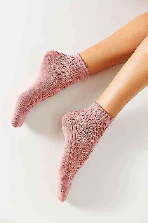 Open Work Scalloped Trouser Sock,ROSE,ONE SIZE