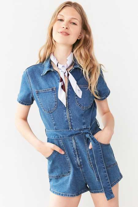 MINKPINK Under Construction Zip-Front Denim Romper