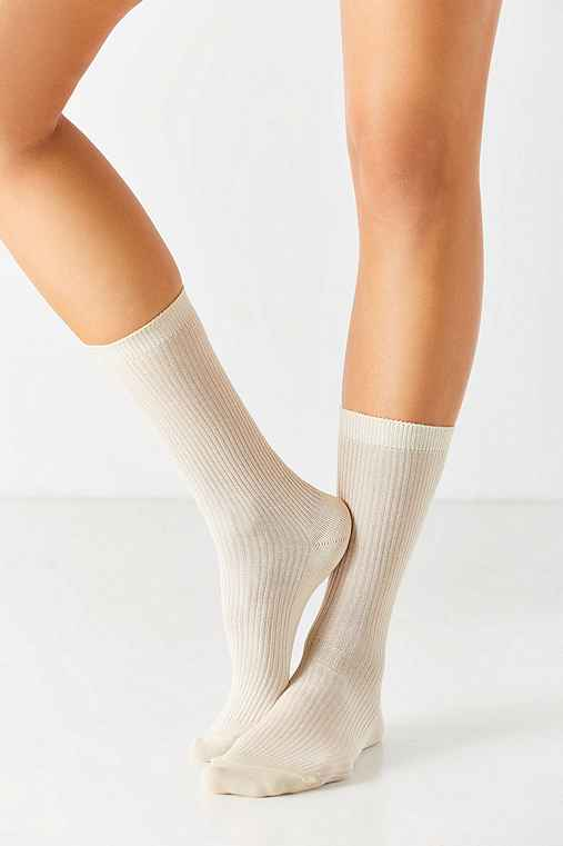 Basic Ribbed Trouser Sock,WHITE,ONE SIZE