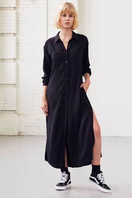 Silence + Noise Side-Slit Maxi Shirt Dress