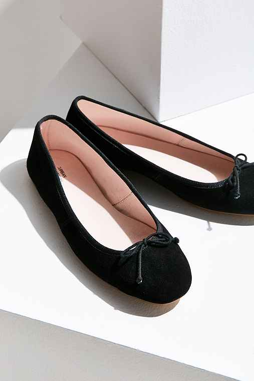 Suzi Suede Ballet Flat,BLACK,9