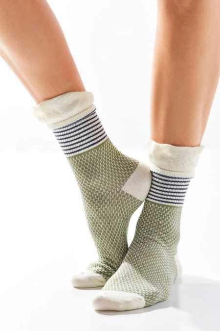 Mixed Print Ruffle Crew Sock