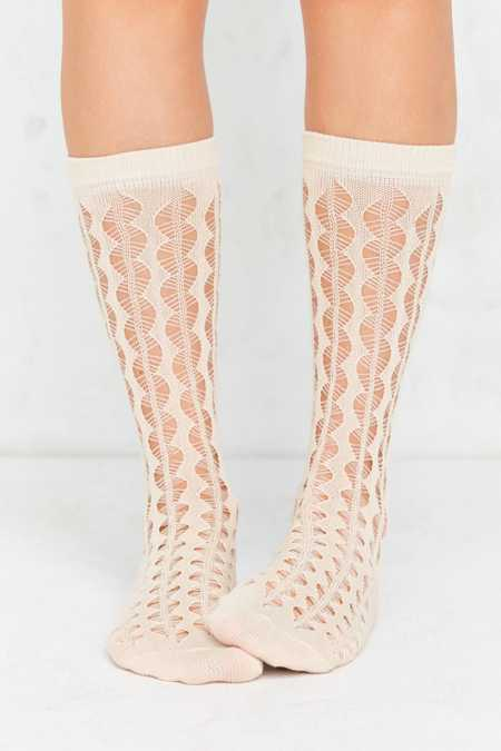 Out From Under Open Work Zig Zag Stripe Sock