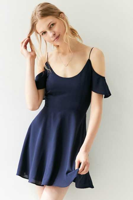 Kimchi Blue Cold-Shoulder Fit + Flare Dress