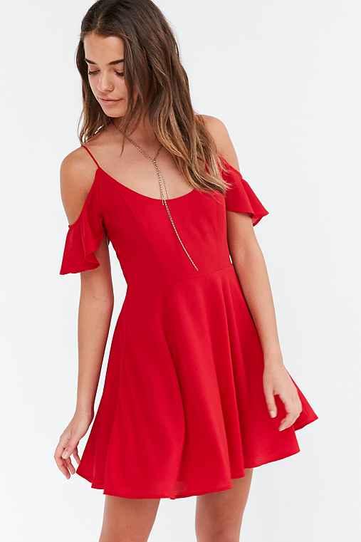 Kimchi Blue Cold-Shoulder Fit + Flare Dress,RED,0