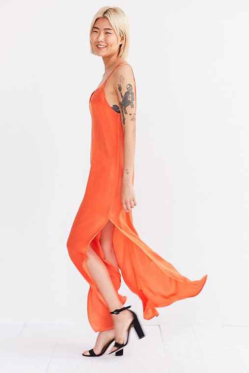 Silence + Noise Deep-V Satin Maxi Slip Dress,ORANGE,XS