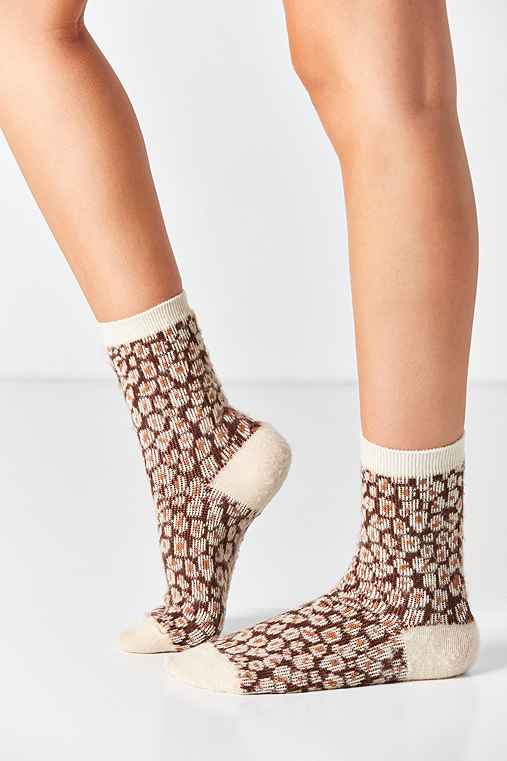 Out From Under Fuzzy Animal Printed Crew Sock,BROWN MULTI,ONE SIZE