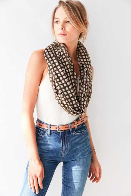 Silence + Noise Nubby Printed Oblong Scarf