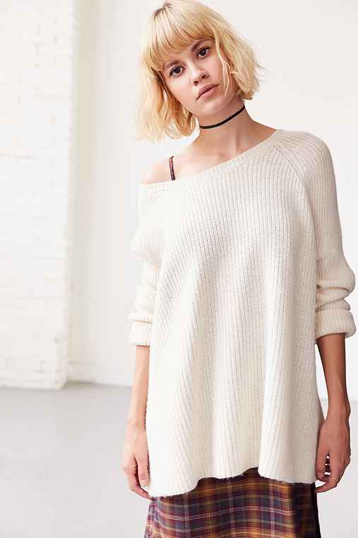 BDG Cloud Stitch Wide-Neck Sweater,IVORY,XS