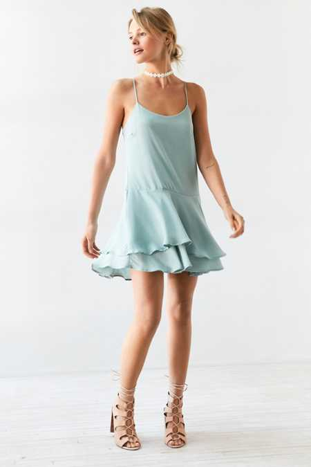 Kimchi Blue Tiered Drop-Waist Mini Dress