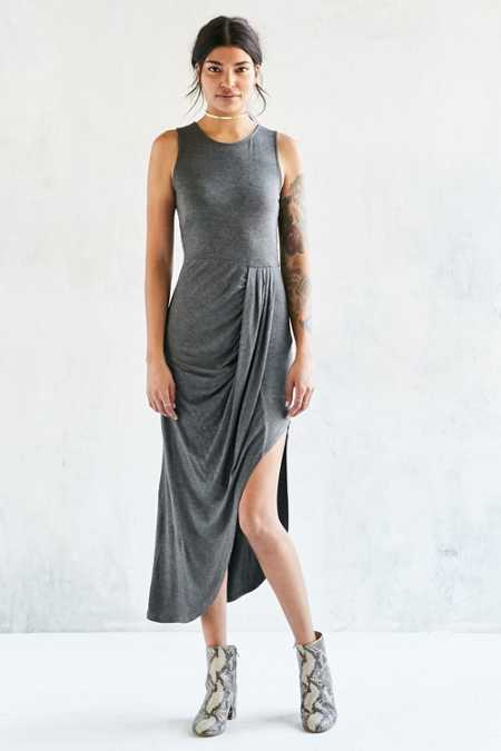 Silence + Noise Draped Side Knit Maxi Dress