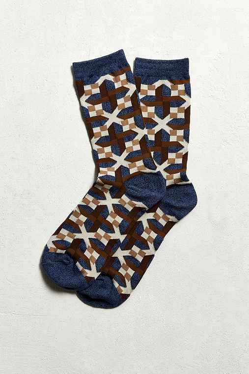 Quilt Print Sock,BLUE,ONE SIZE