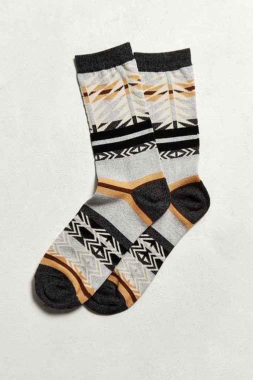 Southwest Blanket Print Sock,LIGHT GREY,ONE SIZE