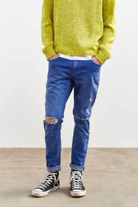 Rolla's Ripped Blue Tapered Slim Jean