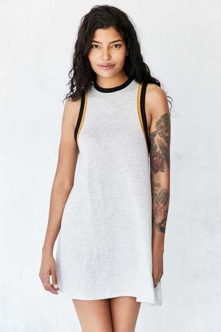 Silence + Noise Tri-Color Sleeveless Ringer T-Shirt Dress