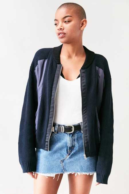 BDG Zip-Up Bomber Sweater