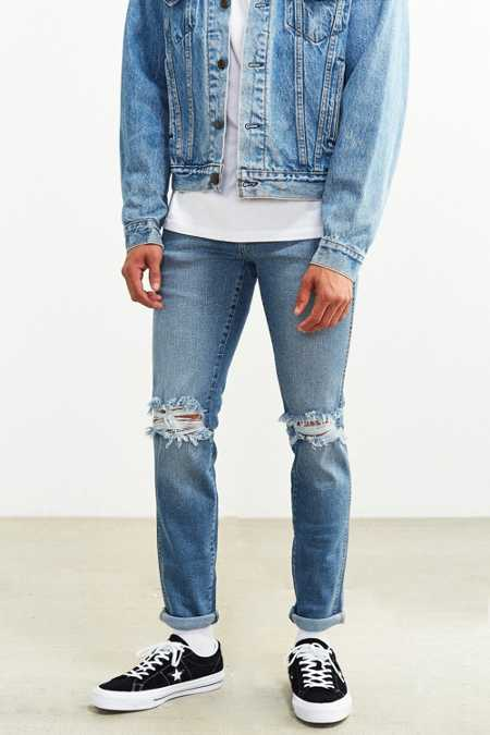 Dr. Denim Light Stonewash Destroyed Snap Skinny Jean