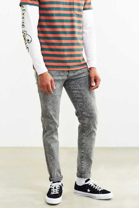 Dr. Denim Grey Acid Wash Snap Skinny Jean