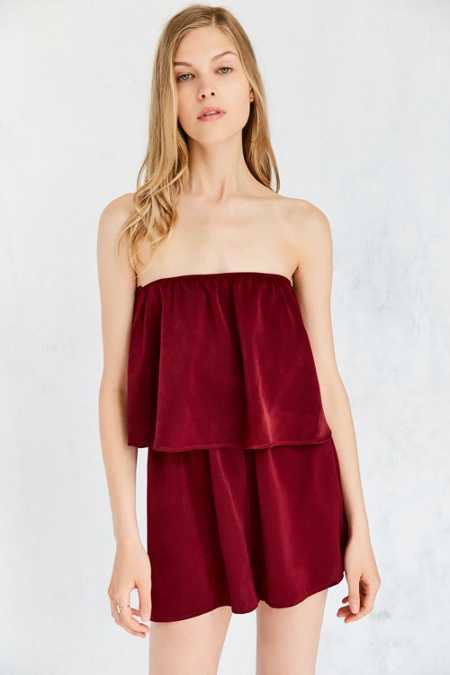 Silence + Noise Strapless Satin Twofer Romper