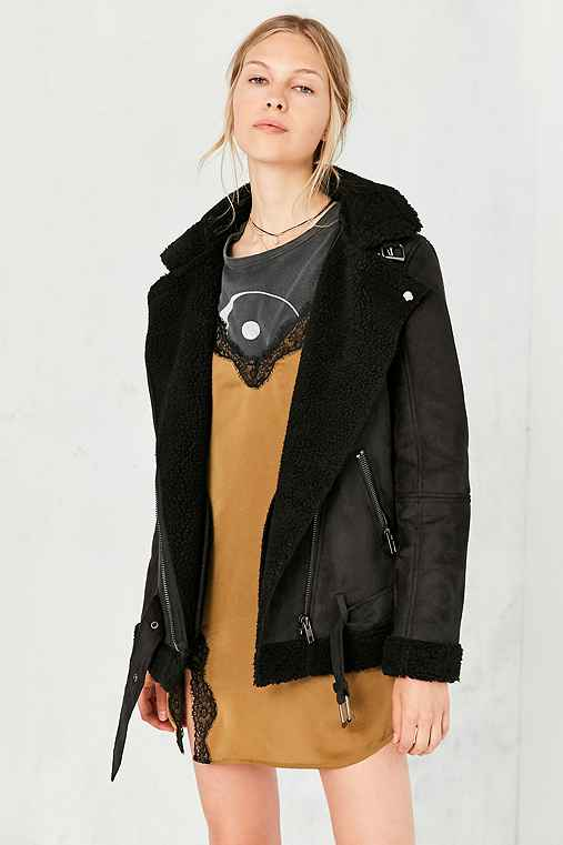 Silence + Noise Tough Hooded Aviator Jacket,BLACK,XS