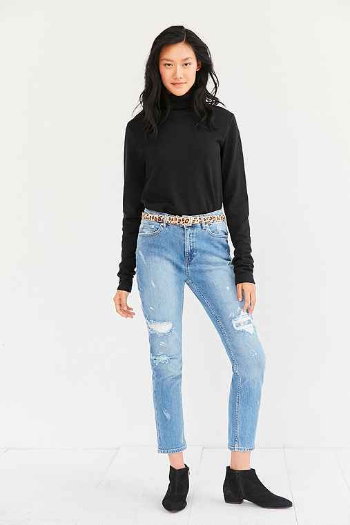 Cheap Monday Level Editor Distressed Crop Jean,LIGHT BLUE,27
