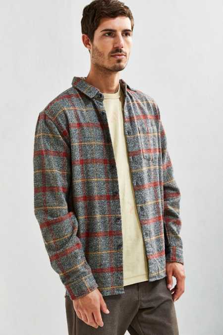 UO Grindle Plaid Flannel Button-Down Shirt