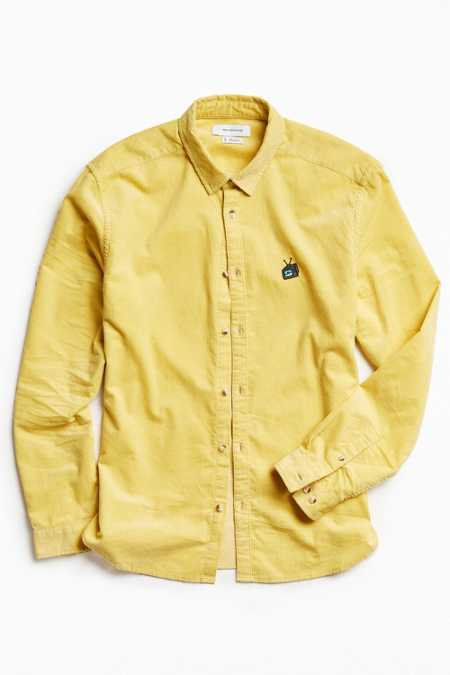 UO Embroidered Overdyed Corduroy Button-Down Shirt