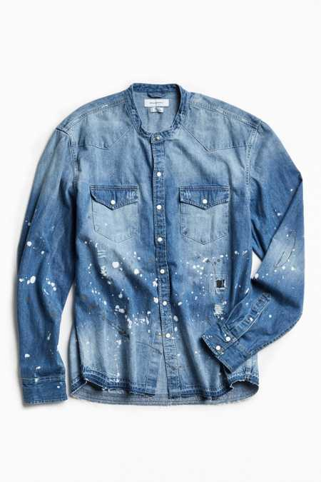 UO Repaired Band Collar Denim Western Shirt