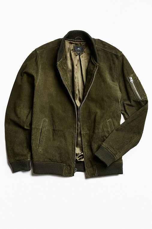 OBEY Pilot Suede Bomber Jacket,OLIVE,M