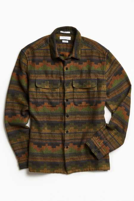 UO Blanket Pattern Jacquard Flannel Button-Down Shirt