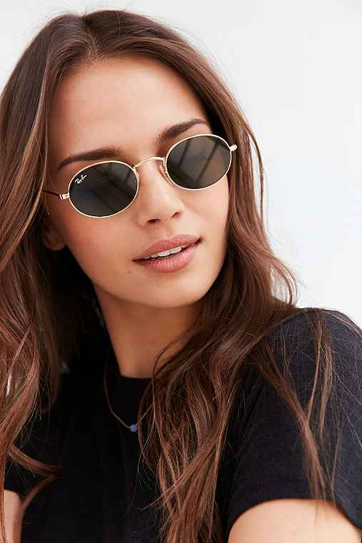 Ray-Ban Icon Oval Flat Lens Sunglasses,GOLD,ONE SIZE
