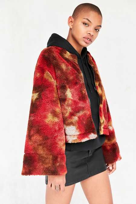 Without Walls Fuzzy Tie-Dye Zip-Up Jacket