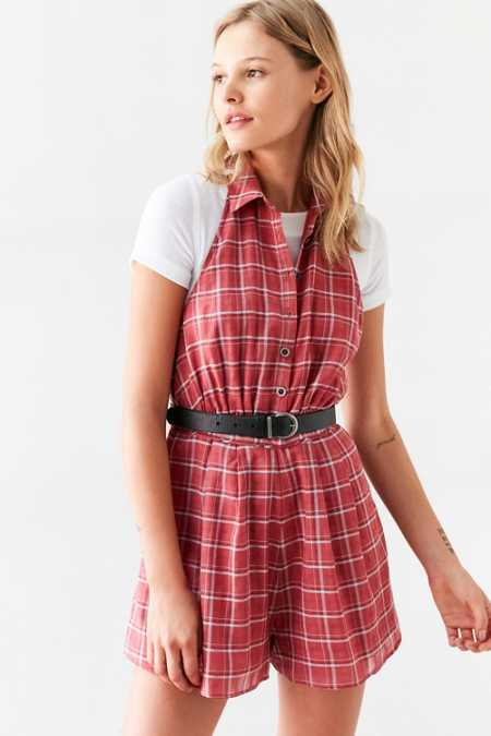 Cooperative Plaid Collared Halter Romper