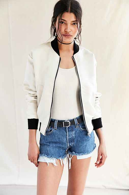 Urban Renewal Recycled Satin Bomber Jacket,NEUTRAL,S