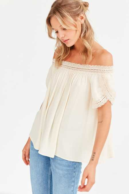 Ecote Holly Crochet Trim Off-The-Shoulder Top